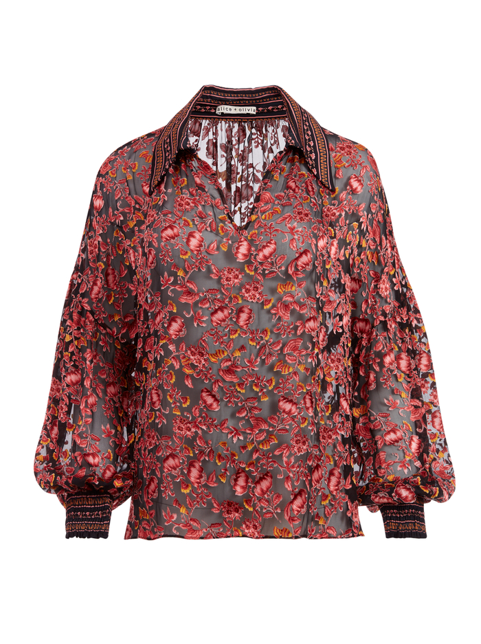 DESIREE FLORAL COLLARED BLOUSE - TWILIGHT FLORAL ROSE/CMBO MULT - Alice And Olivia