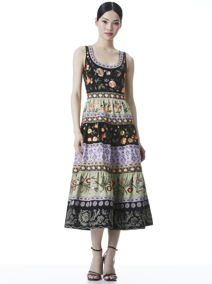 ARYA EMBROIDERED MIDI GOWN DRESS - MULTI - Alice And Olivia