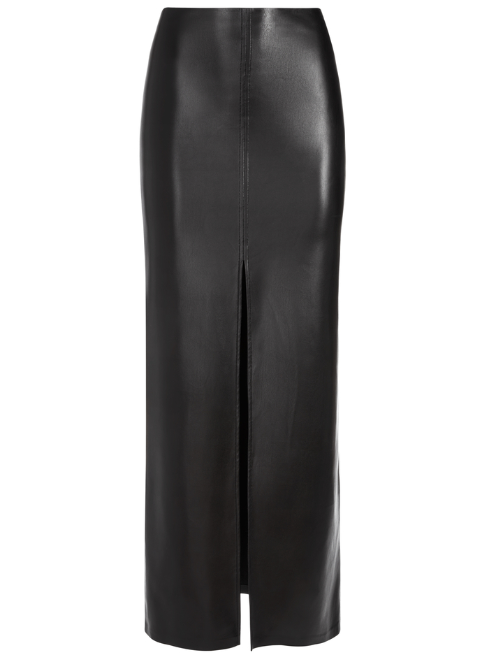 GEMINA VEGAN LEATHER GOWN SKIRT - BLACK - Alice And Olivia