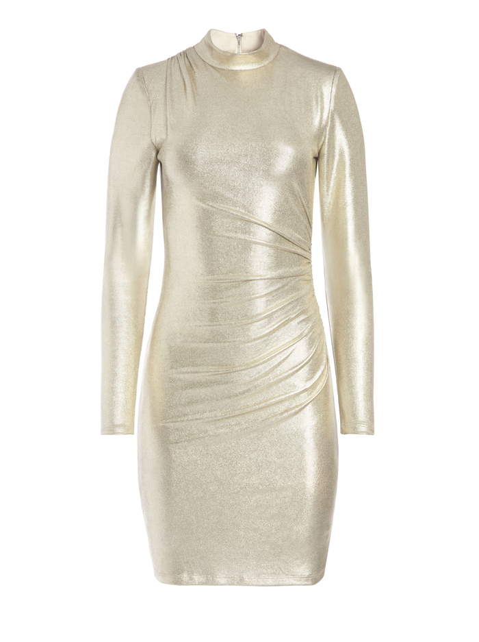 HILARY RUCHED METALLIC MINI DRESS - PALE GOLD - Alice And Olivia