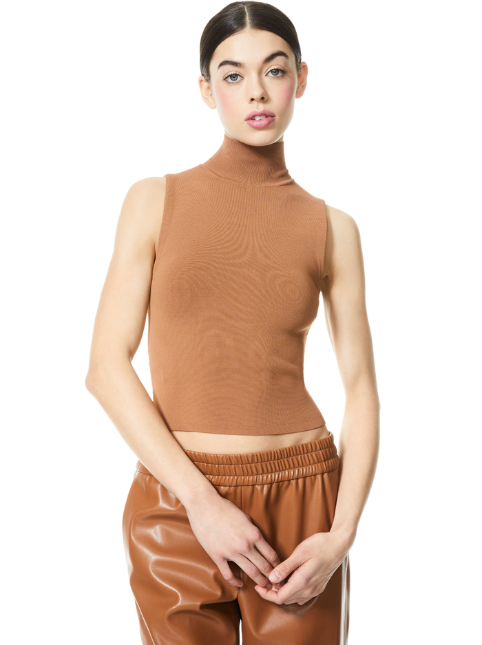 DARINA MOCK NECK FITTED TANK - CAMEL - Alice And Olivia