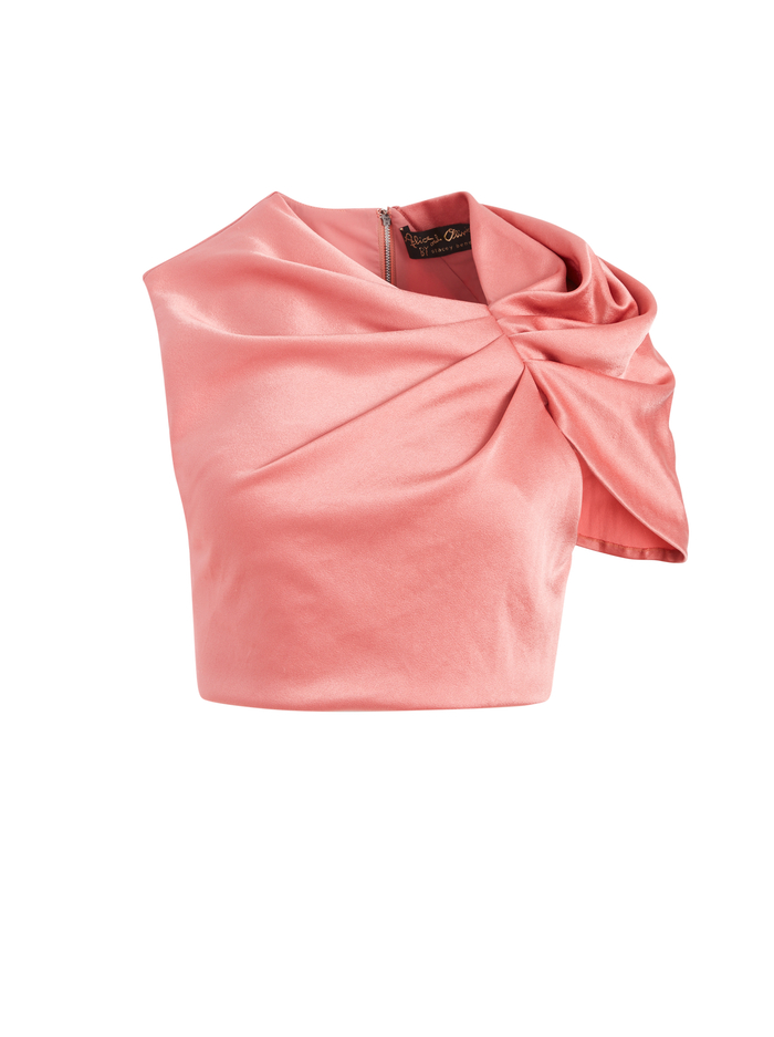 ADA RUFFLE FRONT CROP TOP - ROSE - Alice And Olivia