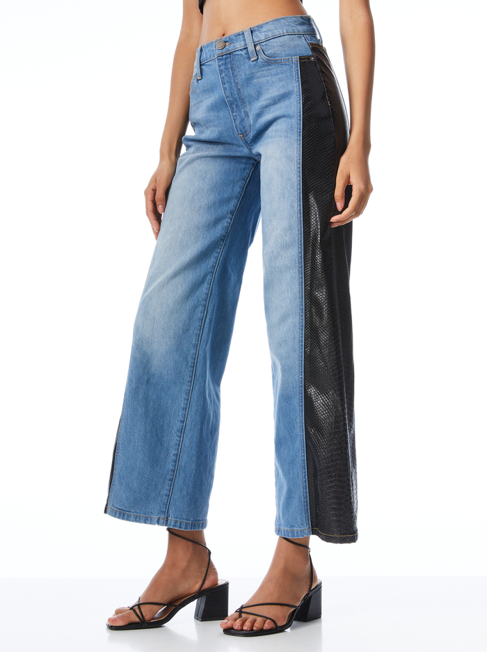 MAX VEGAN LEATHER COMBO PANT - BEST INTENTIONS/BLK - Alice And Olivia