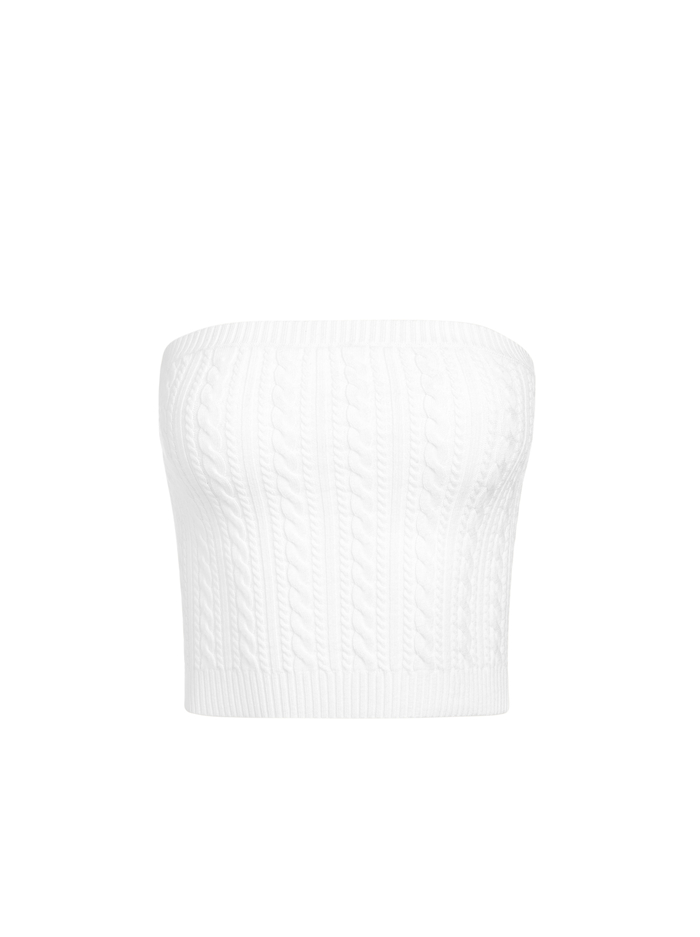 IZZIE CABLEKNIT TUBE TOP - SOFT WHITE - Alice And Olivia