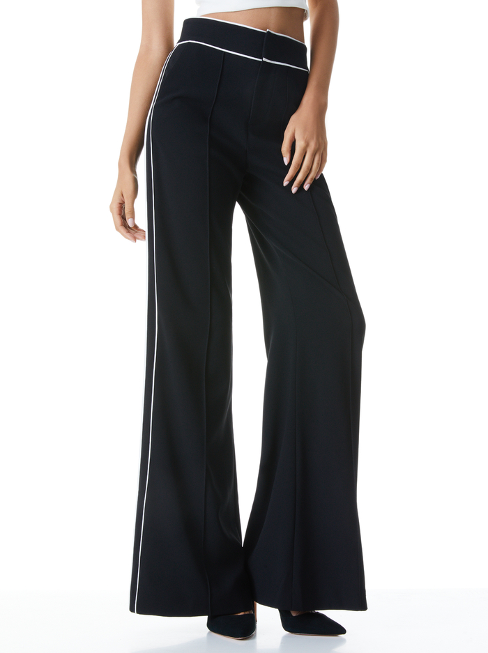 DYLAN PIPED HIGH WAIST PANT - BLACK/OFF WHITE - Alice And Olivia