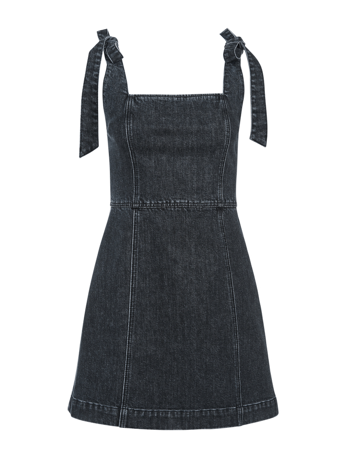 MARYANN TIE SHOULDER MINI DRESS - ACID BLACK - Alice And Olivia