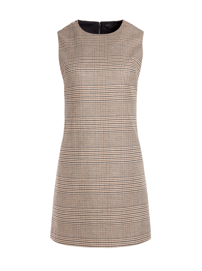 COLEY CREW NECK MINI DRESS - AFTERGLOW PLAID - Alice And Olivia