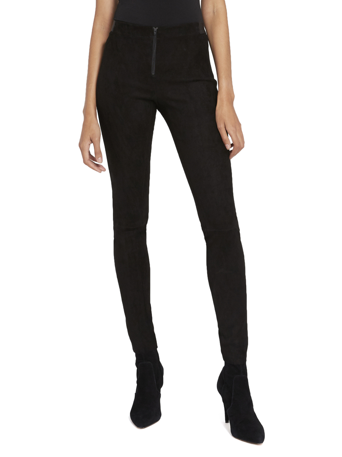 FRONT ZIP SUEDE LEGGING - BLACK - Alice And Olivia