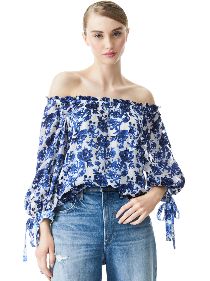 ALTA BLSNSLV PSNT TOP W TIES - FORGET ME NOT LG ANTIQUE WHITE - Alice And Olivia