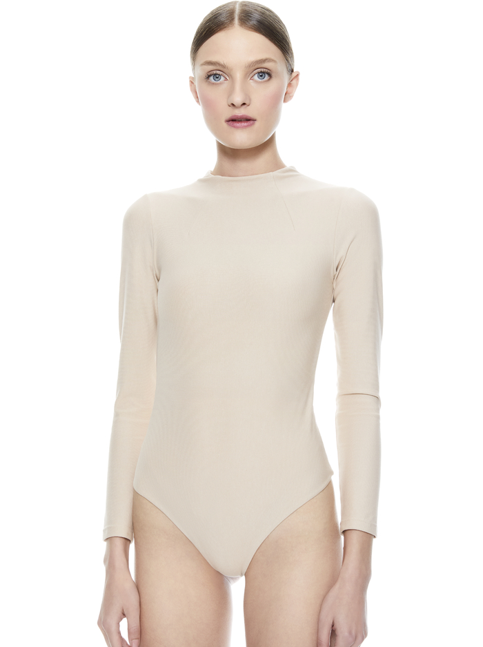 BECKER MOCK NECK BODYSUIT - NUDE - Alice And Olivia