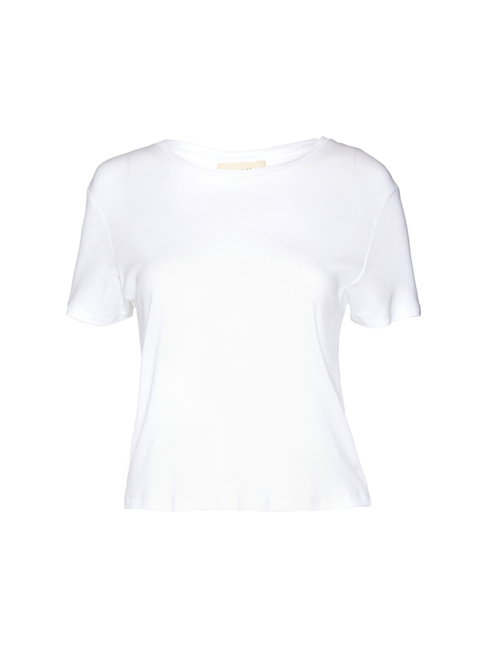 CINDY CLASSIC CROPPED TEE - WHITE - Alice And Olivia