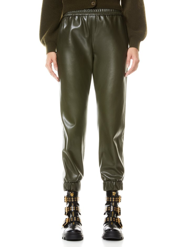 PETE VEGAN LEATHER JOGGER - OLIVE - Alice And Olivia