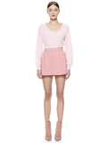 ANSLEY V-NECK BLOUSON SLEEVE SWEATER - BLUSH