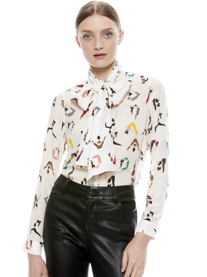 JEANNIE BOW COLLAR BLOUSE - YOGA STACE - Alice And Olivia