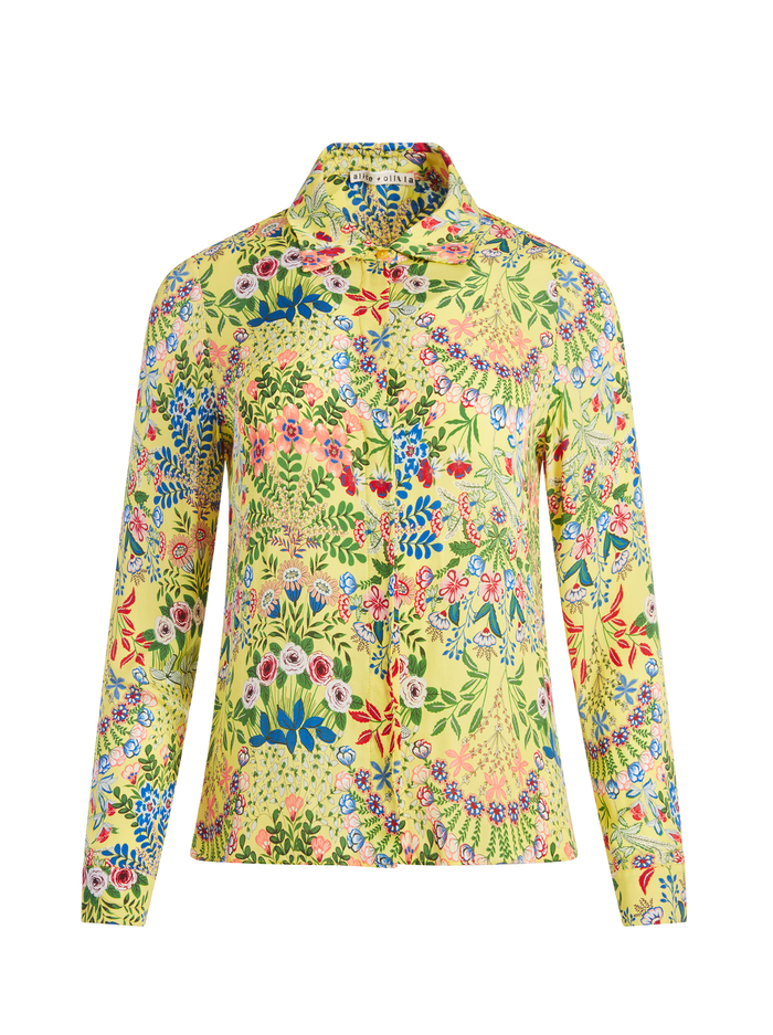 WILLA FLORAL PRINTED TOP - WILDFLOWER DAFFODIL - Alice And Olivia