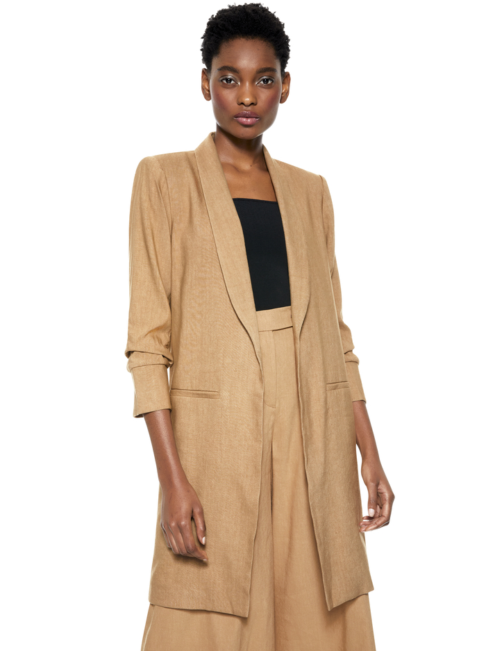 MURIEL SCRUNCHED SLIT SLEEVE COAT - TAN - Alice And Olivia