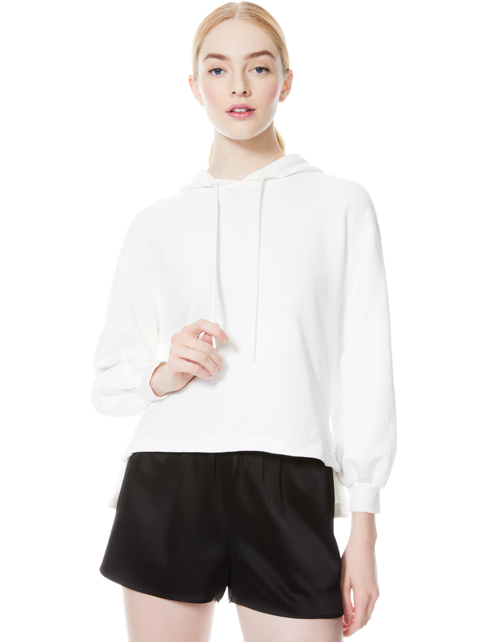 ELAINE COWL BACK HOODIE - OFF WHITE - Alice And Olivia