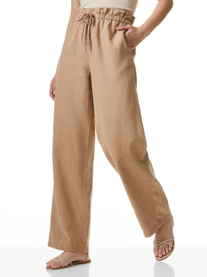 HENRY PAPERBAG WAIST PANT - TAN - Alice And Olivia