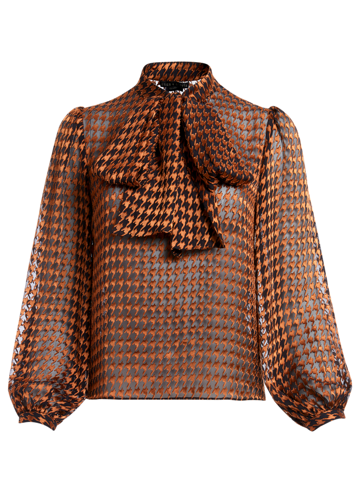 LOLITA HOUNDSTOOTH TIE NECK BLOUSE - HARVEST HOUNDSTOOTH MD - Alice And Olivia