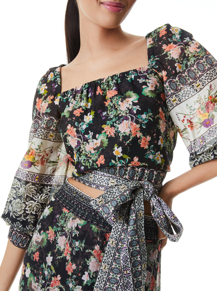 CLARABELLE TIE FRONT BLOUSE - DREAM CASTLE - Alice And Olivia