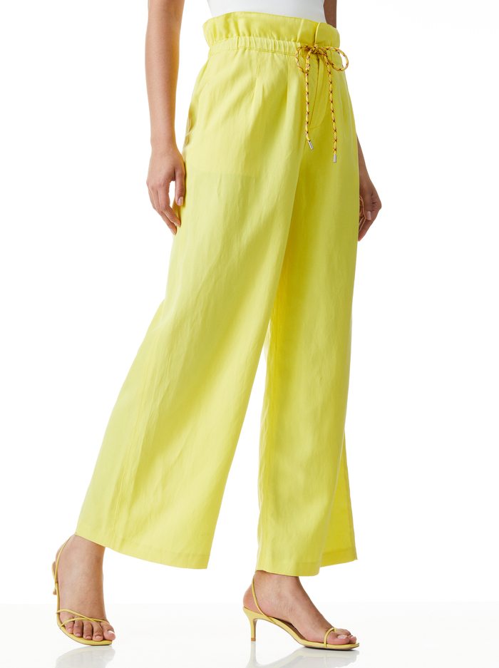 HENRY CRP PAPERBAG PANT W TIE - SUNBEAM - Alice And Olivia