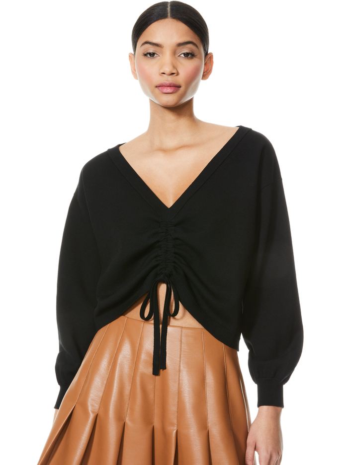 NORA REVERSIBLE DRAWCORD PULLOVER - BLACK - Alice And Olivia
