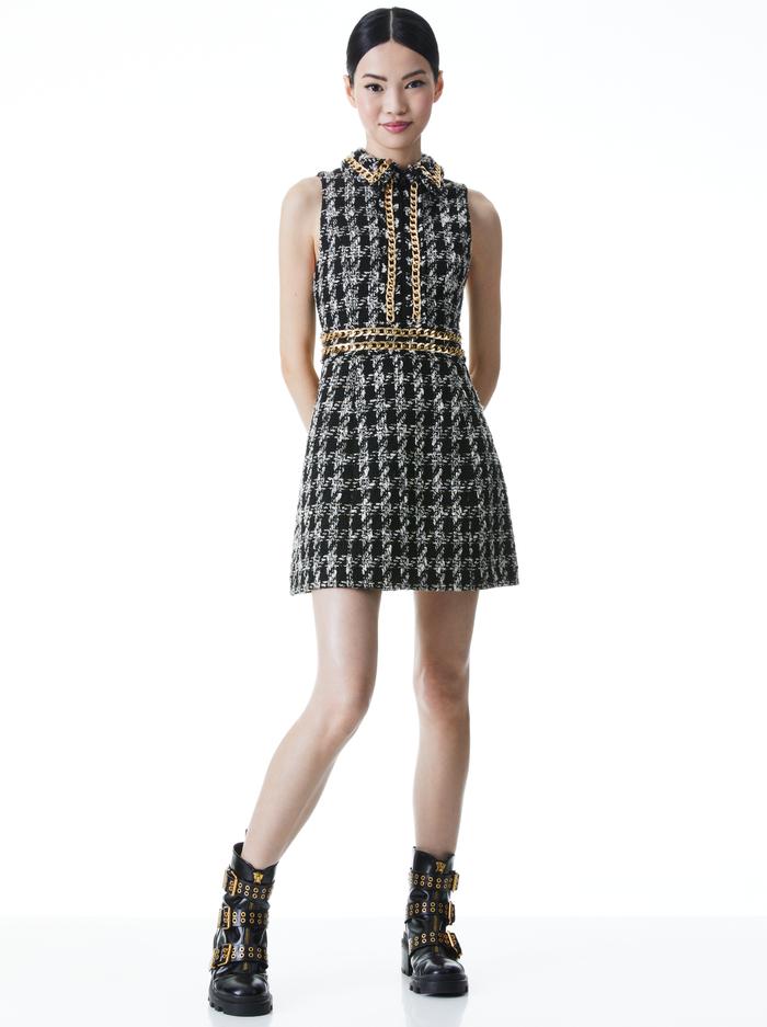 ELLIS CHAIN TRIM MINI DRESS - BLACK/WHITE - Alice And Olivia