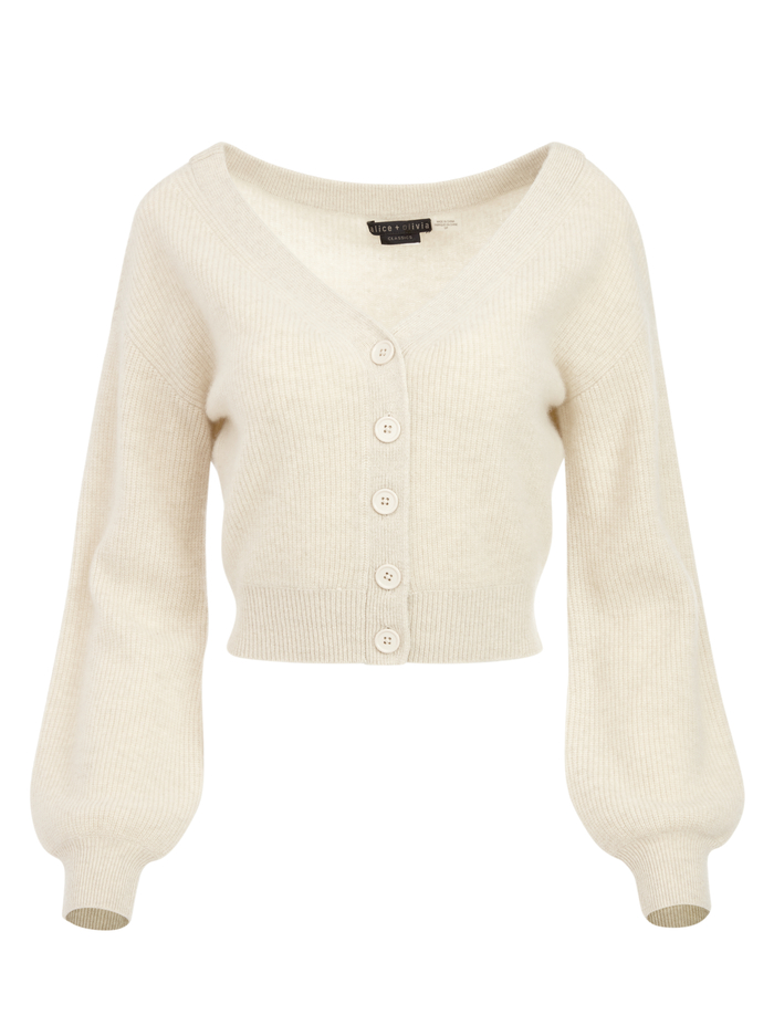 DEE OFF THE SHOULDER CARDIGAN - OATMEAL - Alice And Olivia