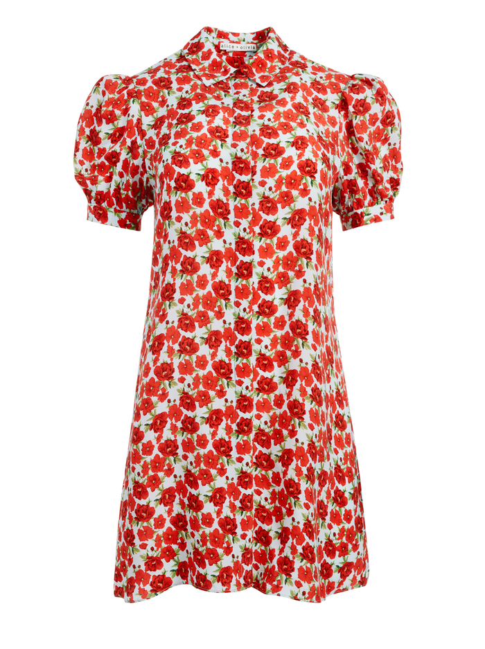 JEM FLORAL SHIRT DRESS - FORGET ME NOT SM BRIGHT POPPY - Alice And Olivia