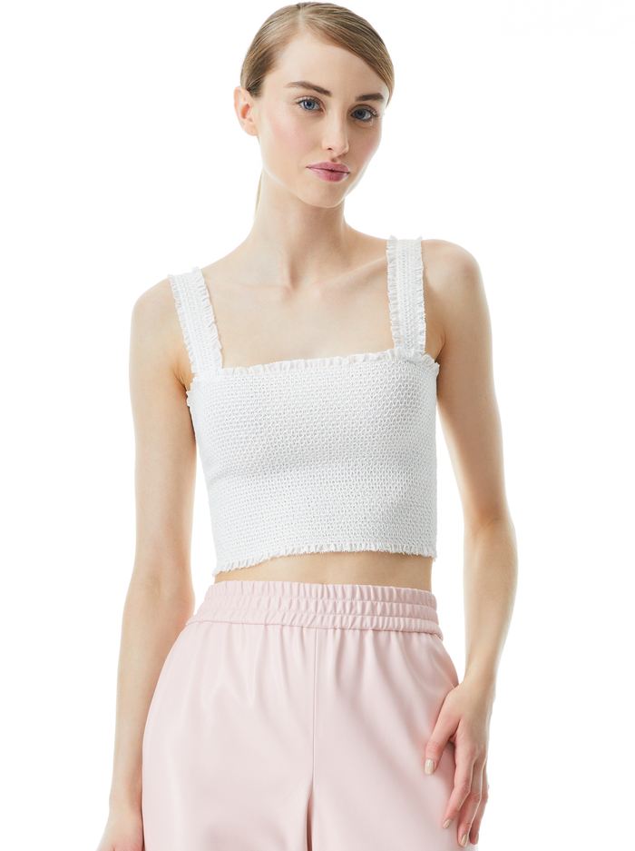 PENELOPE SMOCKED CROP TOP - OFF WHITE - Alice And Olivia