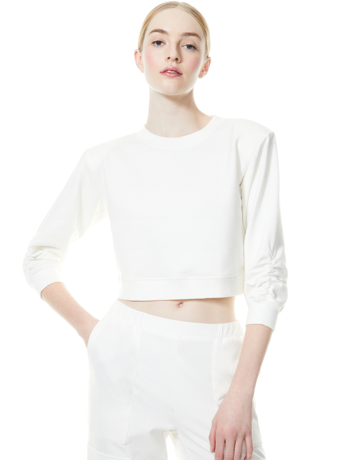 EMMERSON SCRUNCH SLEEVE TOP - WHITE - Alice And Olivia
