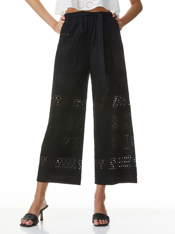 ADELE EYELET CROP PANT - BLACK - Alice And Olivia