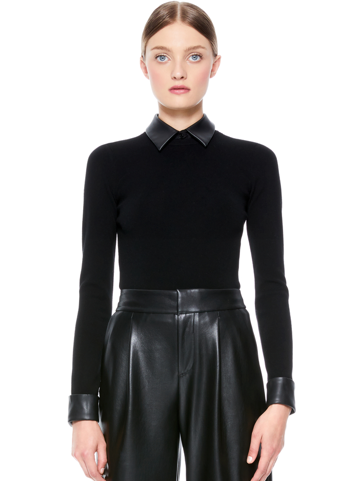 DORY PULLOVER WITH REMOVABLE COLLAR - BLK/BLK - Alice And Olivia