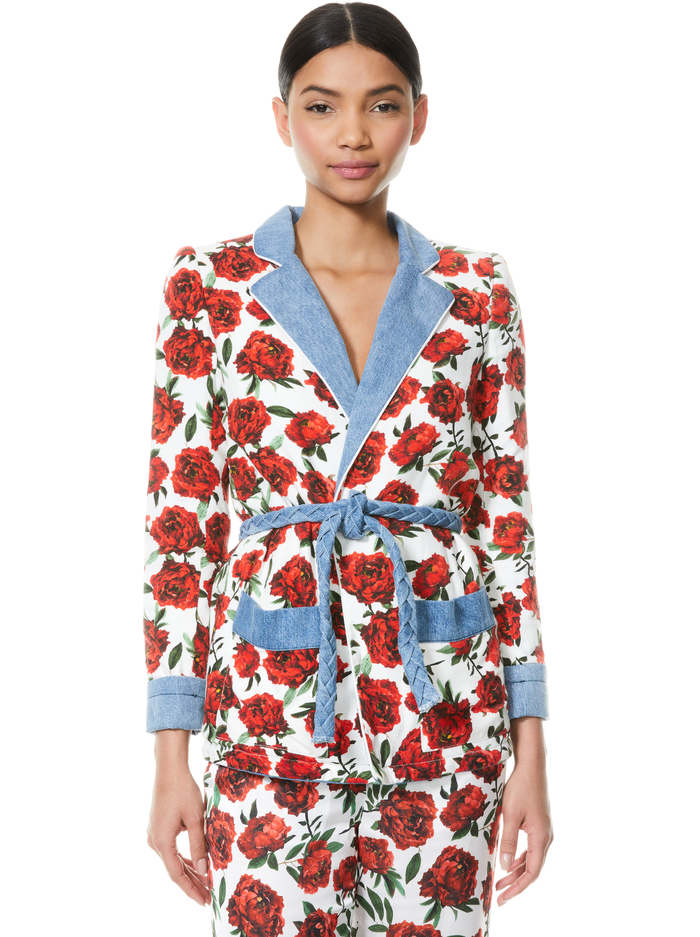 VERNA NOTCH COLLAR ROBE WITH TIE WAIST - LILAS ROSE/COMBO - Alice And Olivia