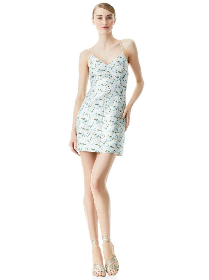 TAYLA STRUCTURED MINI DRESS - POWDER BLUE/WHITE - Alice And Olivia