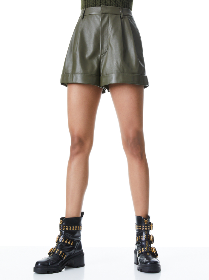 CONRY LEATHER PLEATED CUFF SHORTS - OLIVE - Alice And Olivia
