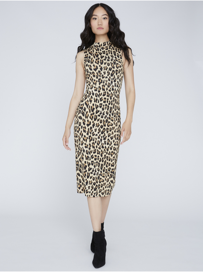 DELORA FITTED MOCK NECK DRESS - TEXTURED LEOPARD - Alice And Olivia
