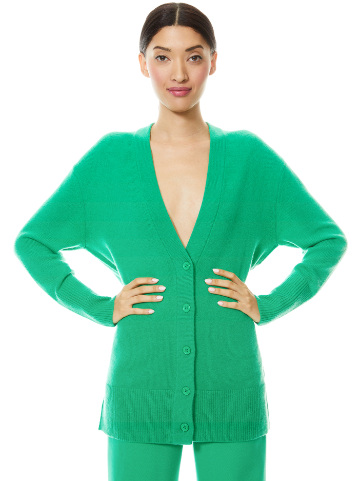 LOUIE OVERSIZED V-NECK CARDIGAN - MINT KELLY - Alice And Olivia