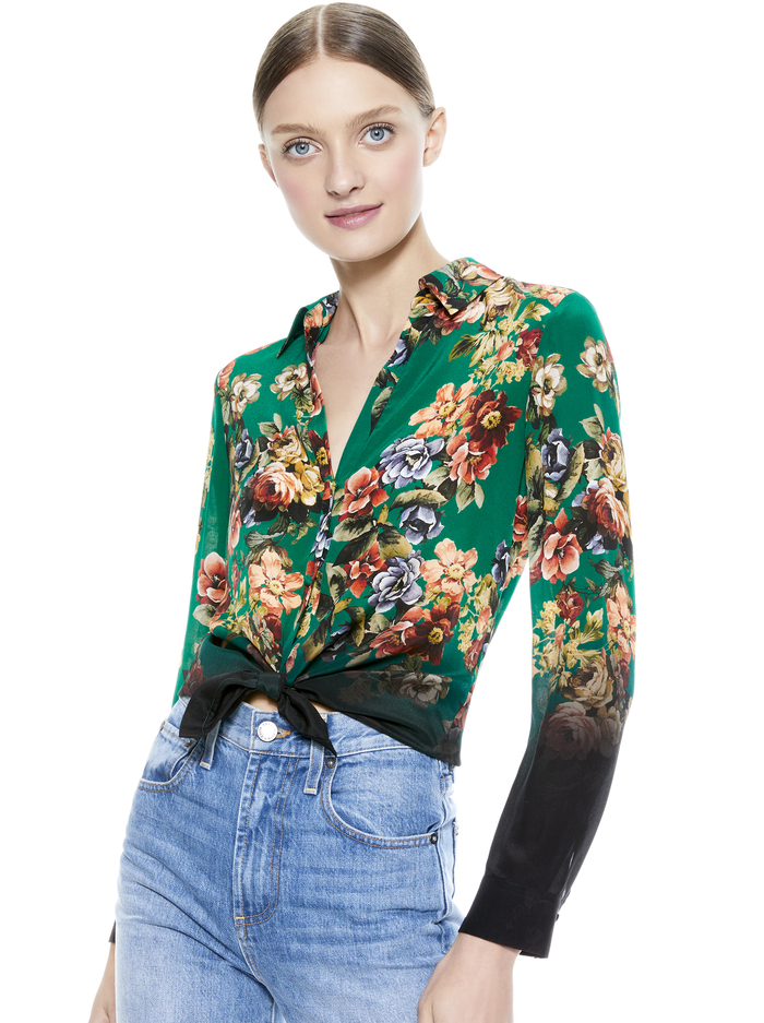 ELOISE FLORAL BUTTON DOWN BLOUSE - CLOUD DANCER DARK TEAL MULTI - Alice And Olivia