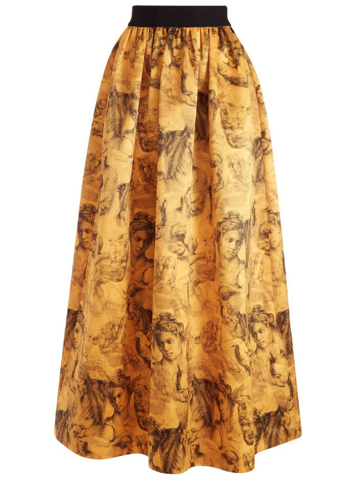 TINA LONG BALL GOWN SKIRT - ANGELO COLLAGE SAFFRON - Alice And Olivia