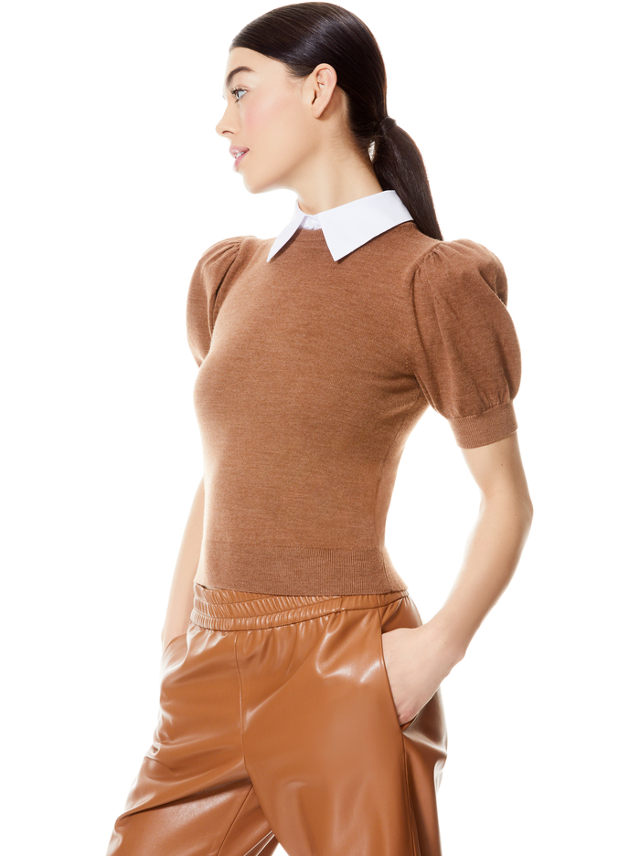 CHASE PUFF SLEEVE SWEATER WITH COLLAR - CAMEL/WHITE - Alice And Olivia