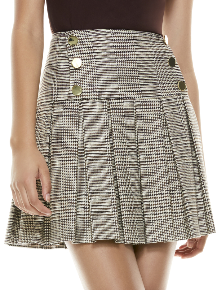 EMILIE PLEATED MINI SKIRT - AFTERGLOW PLAID - Alice And Olivia