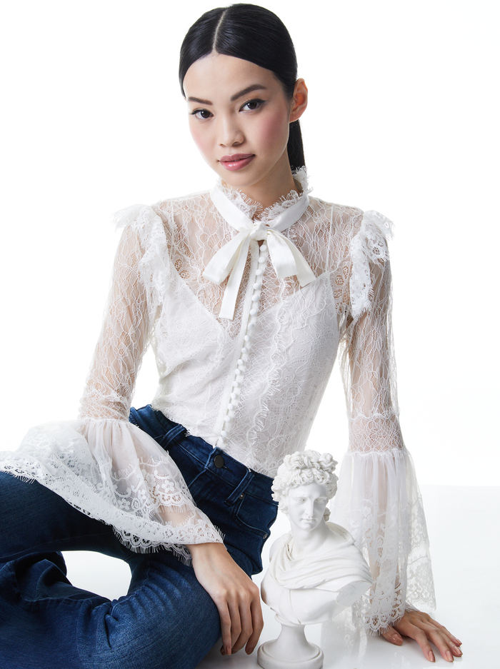MARLINE LACE BELL SLEEVE BLOUSE - OFF WHITE - Alice And Olivia