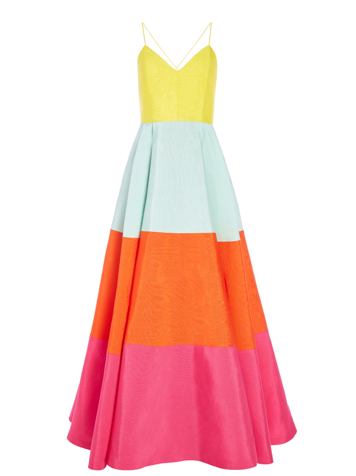 LAVELLE COLOR BLOCK MAXI GOWN - MULTI - Alice And Olivia