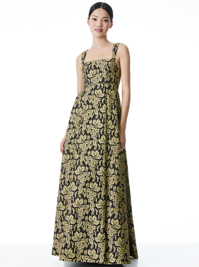 MARLA METALLIC BALL GOWN - BLACK/GOLD - Alice And Olivia