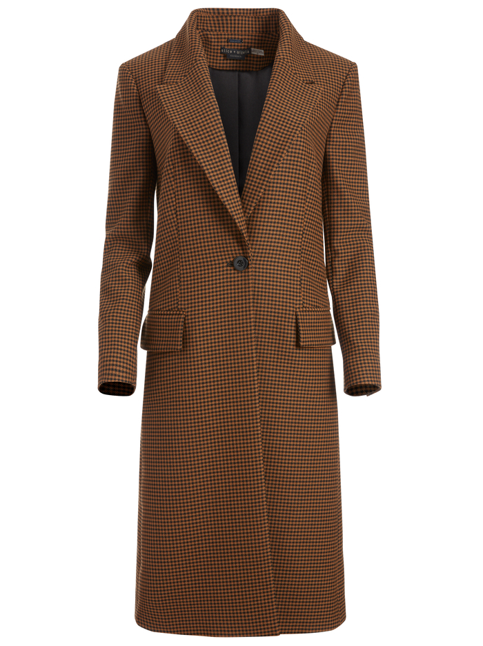 IVAN BOXY OVERSIZED COAT - HARVEST HOUNDSTOOTH MD - Alice And Olivia