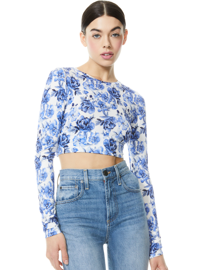 DELAINA FLORAL CREW NECK CROP TOP - FORGET ME NOT LG ANTIQUE WHITE - Alice And Olivia
