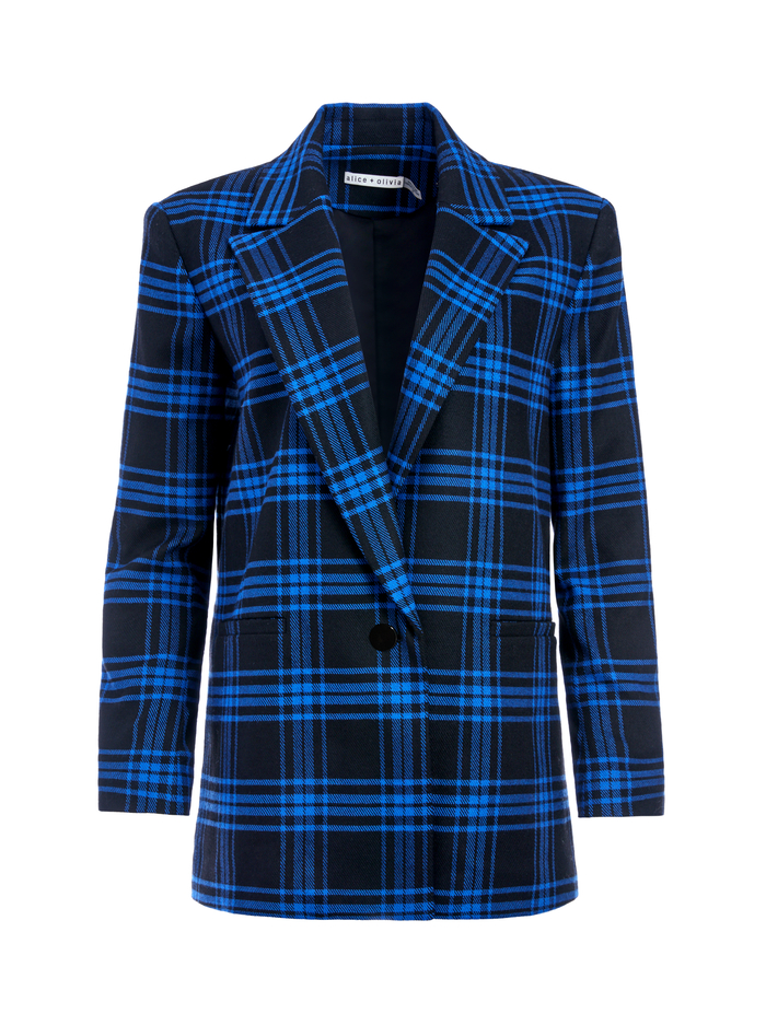 DENNY NOTCH COLLAR BOYFRIEND BLAZER - ALPINE PLAID LG ULTRAMARINE - Alice And Olivia