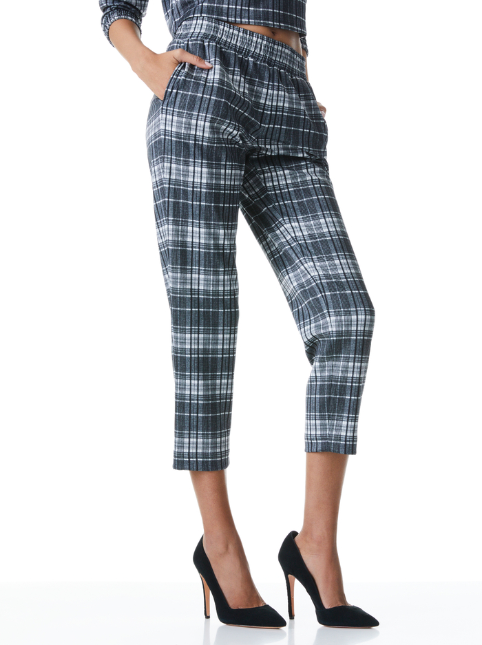 BENNY TAPERED PULL UP PANT - CHARCOAL PLAID - Alice And Olivia