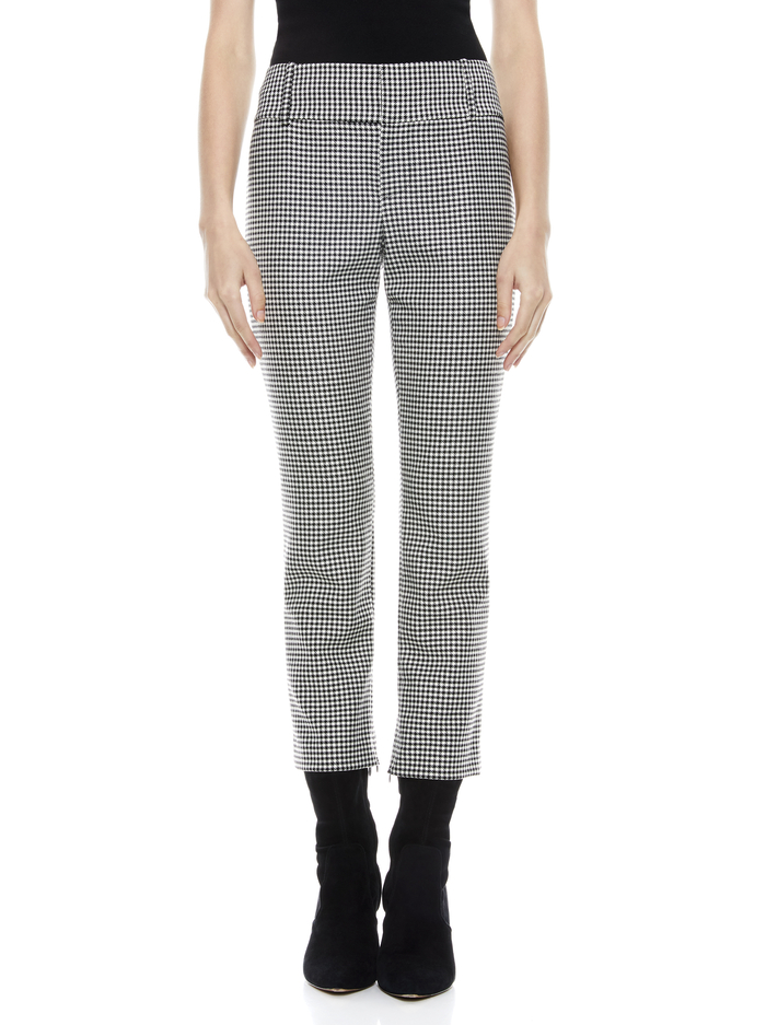 STACEY SLIM TROUSER - BLACK/WHITE - Alice And Olivia